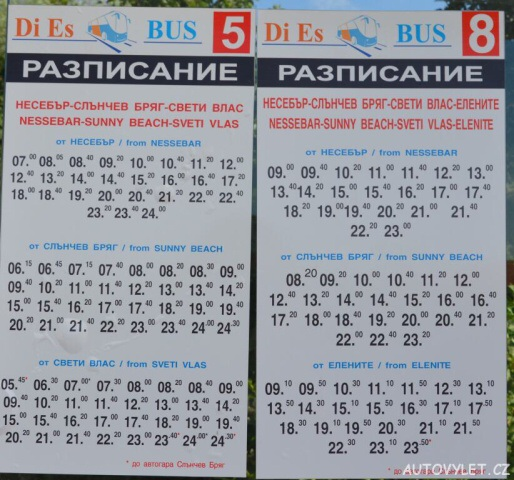 Jízdní řád - Svatý Vlas Bulharsko