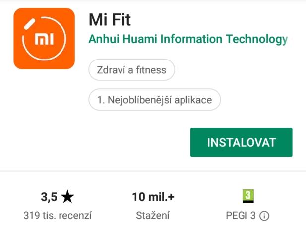 Aplikace Mi Fit 01