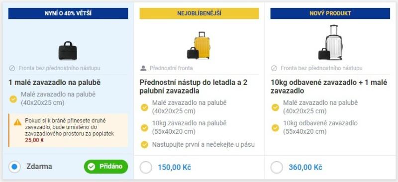 Ryanair zavazadla