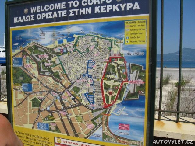 Mapa - Kerkyra Řecko Korfu