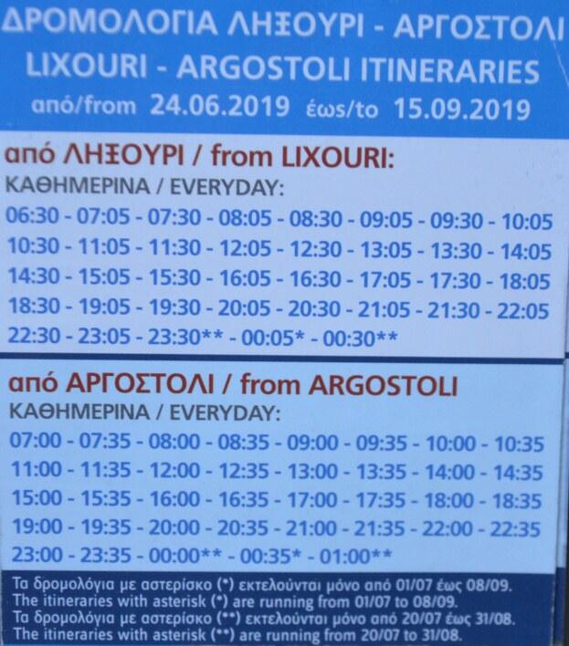 Jízdní řád trajektu Argostoli - Lixouri - Kefalonie