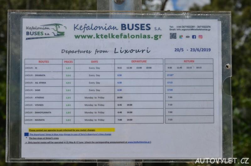 Jídzní řád autobusů + ceník - Kefalonia Lixouri