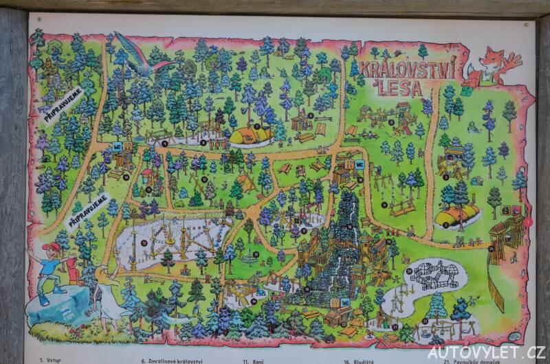 Mapa atrakcí - Království lesa - Lipno nad Vltavou
