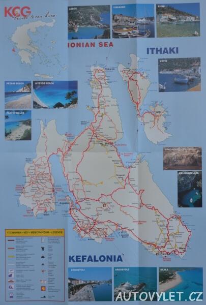 Mapa ostrova Kefalonia