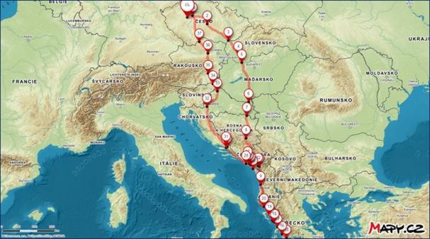 Trasa cesty do Řecka - červenec 2019
