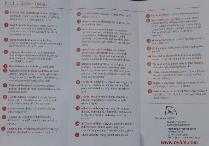 Hrad Oybin - popis v češtině