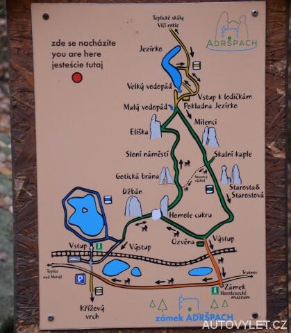Mapa Adršpach - prohlídkový okruh