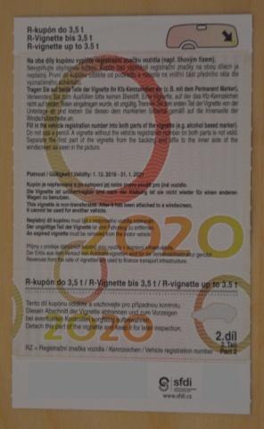 Dálniční kupon 2020