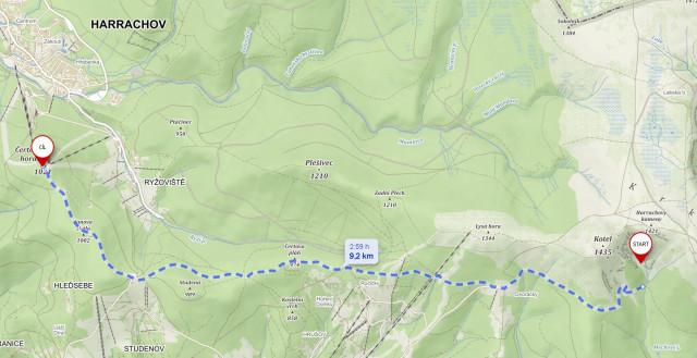 Harrachov - Kotelní jámy - mapa