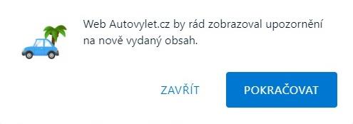 Push oznámení Autovylet