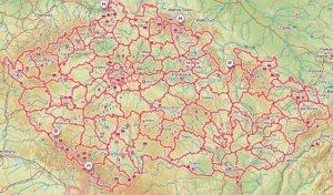 Mapa okresů Čr turistická
