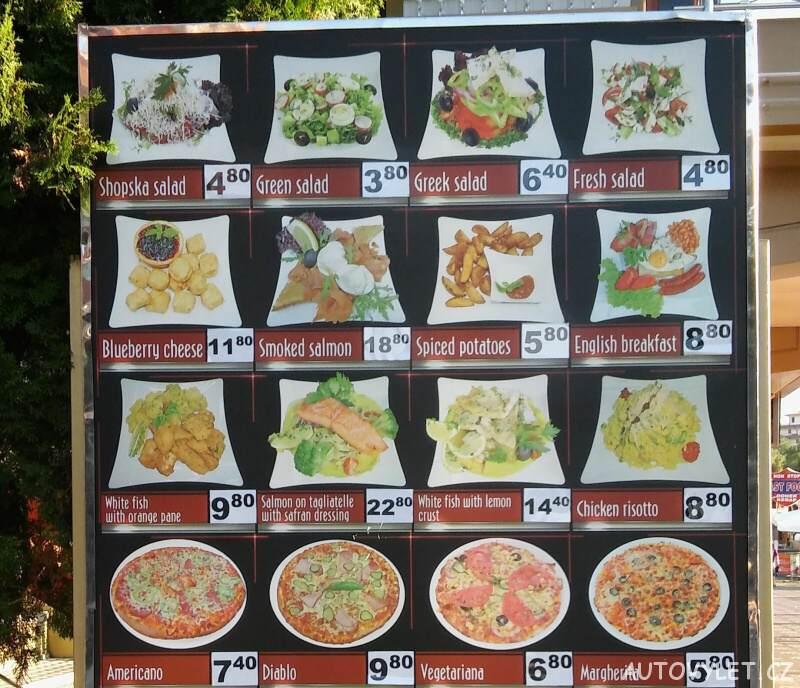 cena jídla reastaurace slunečné pobřeží bulharsko
