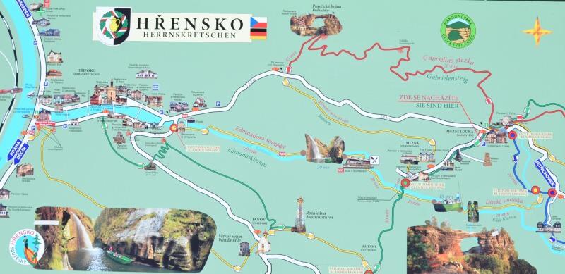 Hřensko - mapa