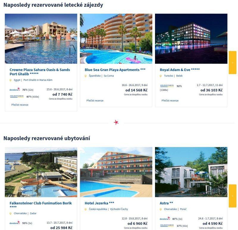 dovolená naposledy rezervované letecké zájezdy a ubytování