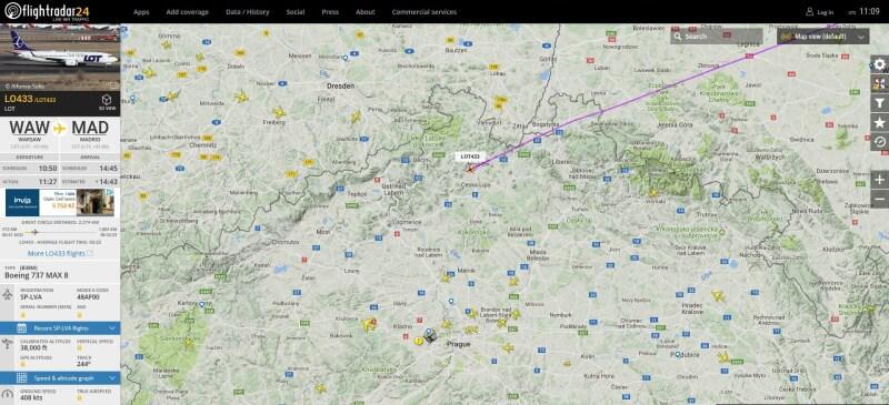 Flightradar - sledování letadel nad ČR online