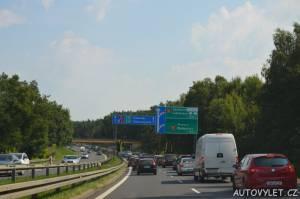 Kolona na dálnici v Polsku