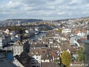 Výhled z kostelu Grossmunster v Curychu 2