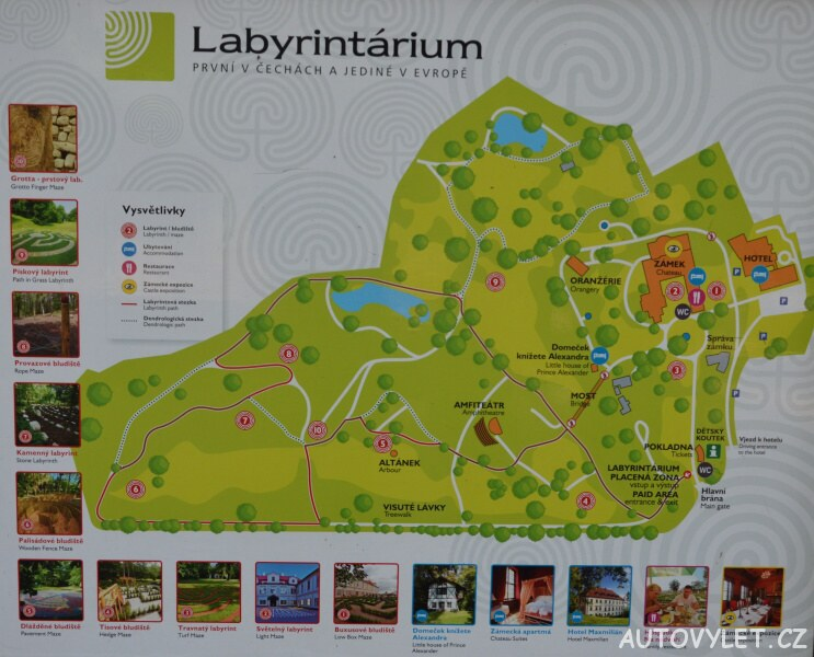 Labyrintárium Loučeň - mapa