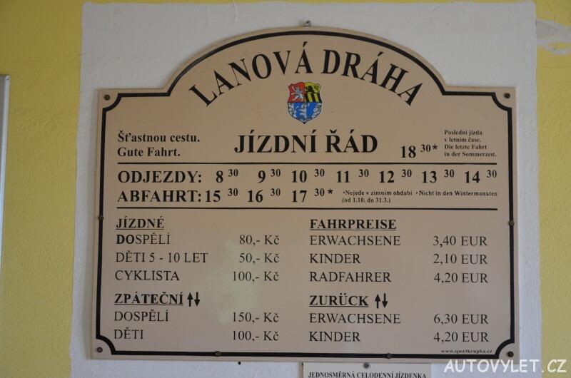 Lanová dráha Krupka - Komáří vížka - jízdní řád