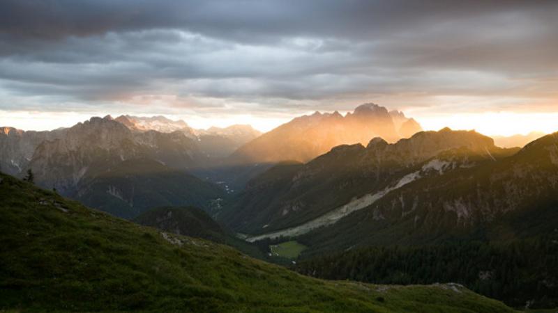 Mangartské sedlo - západ slunce