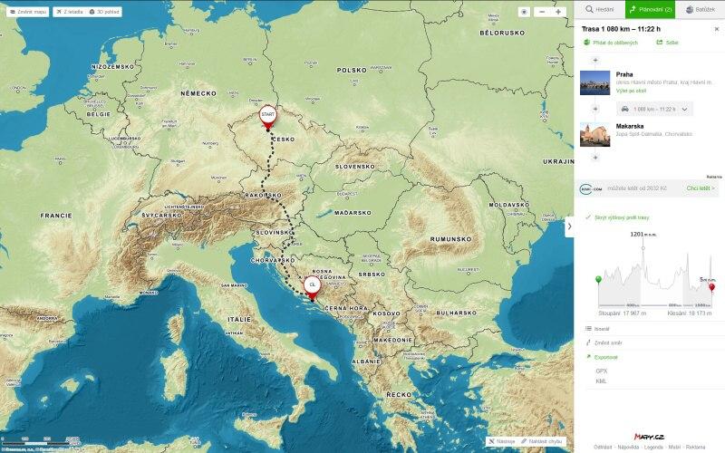 mapy.cz plánovač trasy