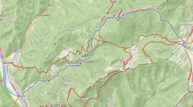 Medvědí soutěska Rakousko - mapa