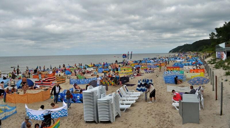 Miedzyzdroje Polsko - pláž