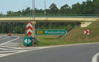 Miedzyzdroje Polsko odbočka z dálnice