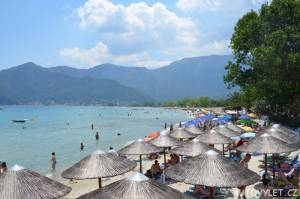 Pláž Golden beach Thassos Řecko
