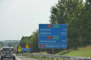 Po dálnici v Polsku směr Svinoústí
