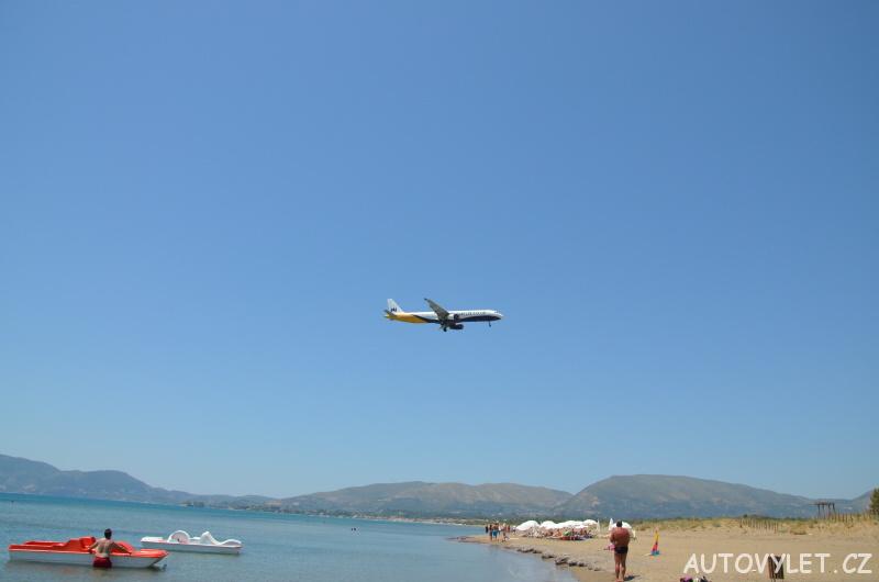 Přistávající letadlo Řecko Zakynthos