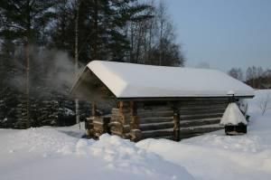 sauna v zimě