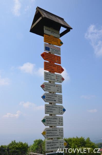 Turistický rozcestník na Komáří vížce