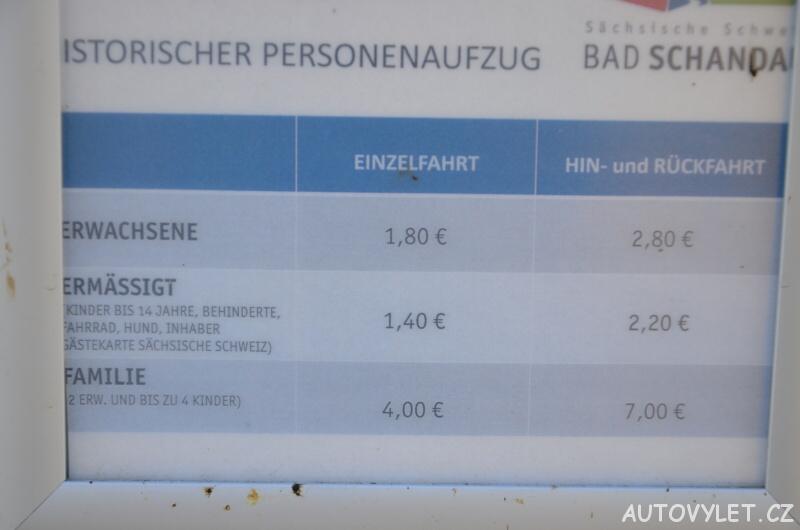 Vstupné Historický výtah Bad Schandau Německo
