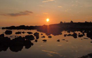 Západ slunce v kempu Acrogiali v Řecku