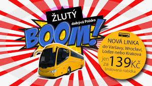 žlutý boom Polsko autobusem